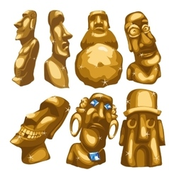 Seven Maya sculptures from gold isolated vector image vector image