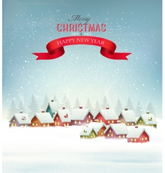 Winter christmas background with a snowy village vector image vector image
