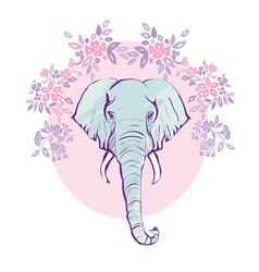 cute elephant with a flower cartoon hand drawn vector image