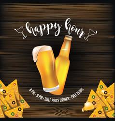 Happy-hour-beer-chips-wood vector