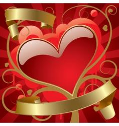 red heart with gold banners vector image vector image