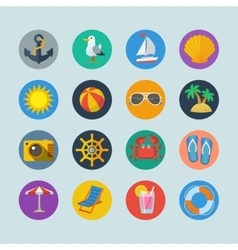 Summer sea holidays icons vector image