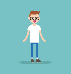 surprised young nerd standing with open mouth vector image vector image