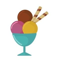 Balls of ice cream in cup cartoon food vector image