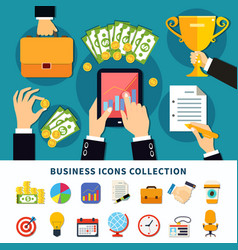 business flat icons collection vector image vector image