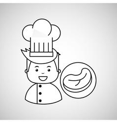 cartoon chef gourmet beef steak vector image