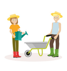 couple of gardeners man with wheelbarrow a woman vector image