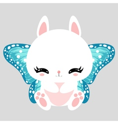 Little cute white bunny with blue butterfly wings vector image vector image