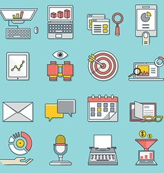 Set of business icons Flat line style - part 2 vector image