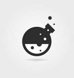 simple black lab icon with shadow vector image