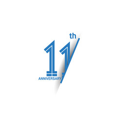 11 anniversary blue cut style isolated on white vector