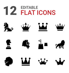12 king icons vector