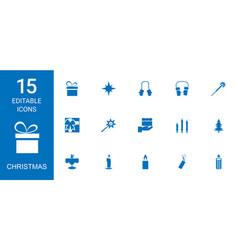 15 christmas icons vector