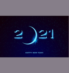 2021 glowing text in space new year vector