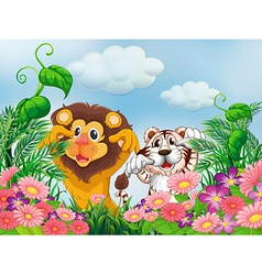 A garden with a lion and a tiger vector image