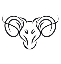 aries sign tattoo color on white background vector image