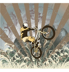 Biker with grunge vector