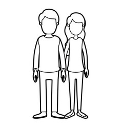 black thick contour caricature faceless full body vector image