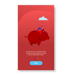 businessman sitting piggy bank money savings vector image