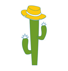 cactus with hat icon vector image