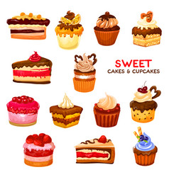 Cake and cupcake desserts with cream and berries vector