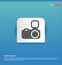 camera icon - blue sticker button vector image