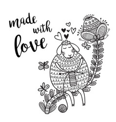 card knitting theme with cute sheep and lettering vector image