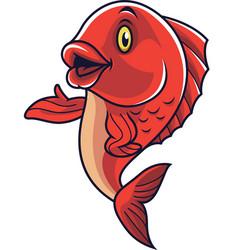 Cartoon fish mascot waving vector
