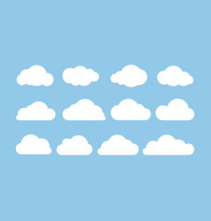 cartoon flat set white clouds isolated on blue vector image