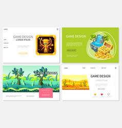 cartoon game design websites set vector image