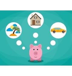 Cartoon pink piggy bank dreaming about holidays vector