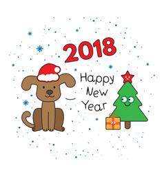 christmas card with cartoon dog vector image