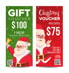 christmas voucher design vertical discount vector image