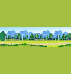 city park clean energy wind turbines green lawn vector image