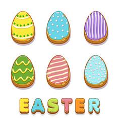 Colored biskvit cookies eggs happy easter vector