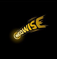 comet c 2020 f3 neowise lettering emblem on black vector image