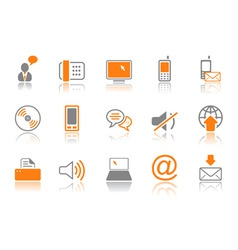 communication icon set orang vector image