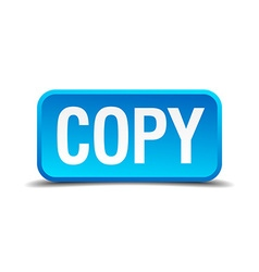 Copy blue 3d realistic square isolated button vector