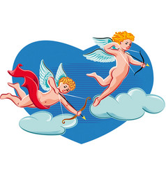 Cupids intent to shoot love arrows vector