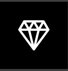 diamond icon on black background black flat style vector image