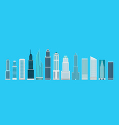 different skyscrapers on blue elements collection vector image