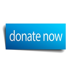 Donate now blue paper sign on white background vector