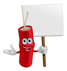 Dynamite mascot holding a sign vector
