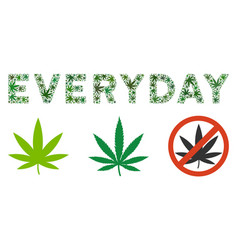 Everyday text composition of hemp leaves vector