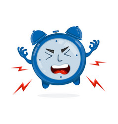 evil angry alarm clock flat vector image