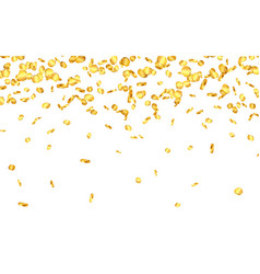 falling from top a lot gold coins on white vector image