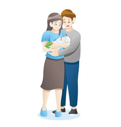 family with newborn baby vector image