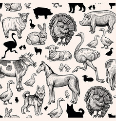 Farm animals seamless pattern vintage engraving vector