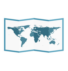 Folded world map flat style vector