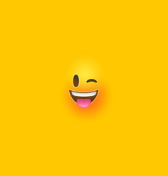 fun wink yellow 3d smiley face vertical background vector image